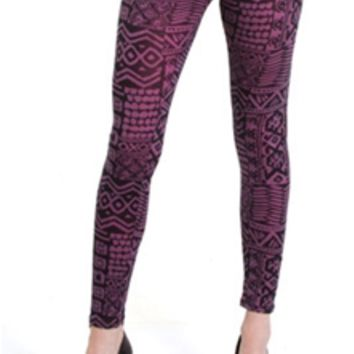 B-Envied Tribal Legend Purple Printed Leggings BP4244WP