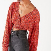 UO Long Sleeve Cropped Plisse Wrap Top | Urban Outfitters