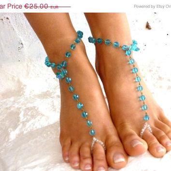 PROMO SALE Barefoot Sandal Silver Foot Jewelry Anklet Bridesmaids. blue crystal anklet,  bride shoes, wedding shoes, crystal barefoot sandal
