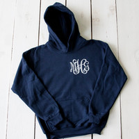 Youth MONOGRAM Hoodie Sweatshirt Monogram Fall Fleece Custom Clothing