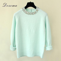 2016 Winter Women Sweaters Pullovers Shiny Crystal Beading O-neck Knitted Sweaters Women Elegant Casual Pullovers Warm Knitwear