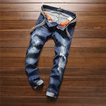 Ripped Holes Blue Denim Cropped Pants Pants Summer Jeans [6541762947]