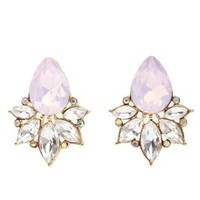 Opalescent Rhinestone Stud Earrings by Charlotte Russe - Gold