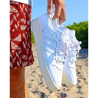 ADIDAS RIVALRY Clover Trending Flat Shoes Classic Sneakers Full White