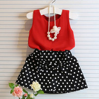 Style Kids Girls Clothing Sets Pleated Lace vest 2 Pieces Set Children Conjunto Girls Clothes Suit Skirt IMY66