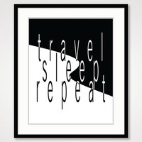 travel poster anniversary gift inspirational art black and white fun art, typographic print motivational wall decor sleep bedroom home decor