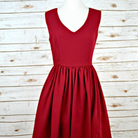 EVERLY: V-Neck Fit and Flare Dress - Maroon