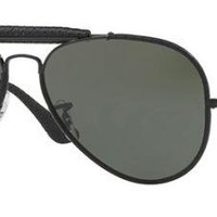 RAY BAN 3422Q 58 9040 LEATHER INSÈRE BLACK CUIR VERT G15 VERRES
