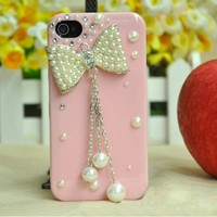 Pearl rhinestone diamond bowknot handmade case for iphone 4/4s