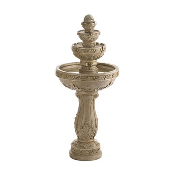 Four-Tier Stone-Look Garden Water Fountain