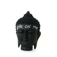 chalkboard buddha head sculpture, desk accessories, upcycled, home decor, buddha statues