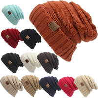 New women hat CC Trendy Warm Oversized Chunky Soft Oversized Cable Knit Slouchy Beanie