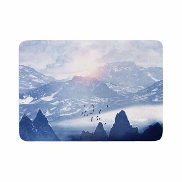 "Viviana Gonzalez ""Winter, Melody..."" Blue Nature Memory Foam Bath Mat"