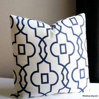 Geometric trellis Navy and white pillow cover, all sizes available