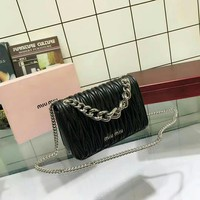 MIUMIU Box bag MIUMIU coin bag MIUMIU clutch bag MIUMIU women leather wallet purse MIUMIU black tote womens handbag MIUMIU chain crrossbod black
