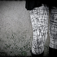 GRAPHITE - White Goth Leggings Decay Post Apocalyptic Handmade painted Spring Urban Edgy