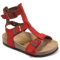 Birkenstock leather cork flats ladies casual sandals / wine red