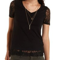 Lace Trim V-Neck Tee by Charlotte Russe