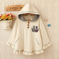 Brand new cute casual high quality cape cap batwing sleeve loose beige cats embroidery women hoodted hoodies sweatshirts