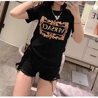 """Versace""Women Fashion Casual All-match Letter Pattern Short Sleeve T-shirt Tops"