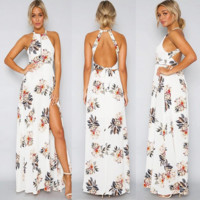 sleeveless hanging neck backless split hollow out the dress