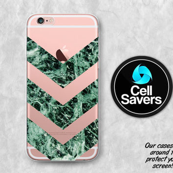 Green Marble Chevron Clear iPhone 6s Case iPhone 6 Case iPhone 6 Plus iPhone 6s + iPhone 5c iPhone 5 Clear Case Marble Chevron Pattern Rock