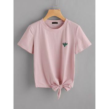 Cactus Embroidered Knot Side Tee PINK