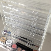 """Sheer Miracle Celebrity Style Crystal Clear Acrylic Makeup Cosmetic Organizer Display - Heavy Duty, High End, Elegant Ice Clear Makeup Jewelry Box *12"""" X 12"""" X 6"""" *7-drawers"""