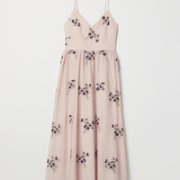 Embroidered Mesh Dress - Light pink - Ladies | H&M US