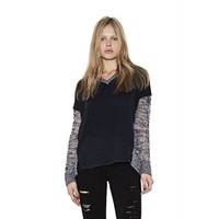 Womens Navy Combo Harper Semi-Sheer Pullover Long Sleeve Sweater By One Grey Day