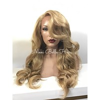 Honey Blond Curls Human Hair Blend Multi Parting Lace Front Wig - Bora