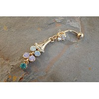 Rose Gold Opal Belly Button Ring
