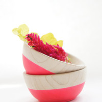 Wooden Mini Bowl Set of Two: Neon Pink , Hostess gift