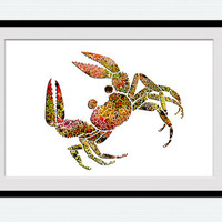 Crab watercolor poster Crab wall art decor Colorful Sea Painting Watercolor Nursery Zodiac cancer horoscope kids room W12