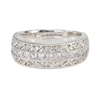 Womens CZ Ring Sterling Silver 7mm 3 row Cubic Zirconia Band With Rhodium