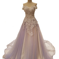 SSYFashion 2017 New High-grade Evening Dress Bride Luxury Lace Flower with Beading Gradient Purple Long Prom Dresses Parry Gown