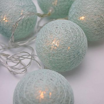 5.5 FT | 10 LED Battery Operated Arctic Spa Blue Round Cotton Ball String Lights With Timer