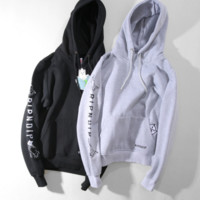 Ripndip cat embroidery hooded long-sleeved sweater men and women lovers
