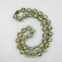 Antique Chinese Cloisonne Yellow Bead Necklace 13.5mm
