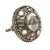 Lisbeth Dahl Silver Metal with Crystals Knobs, Set of 6