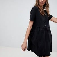 ASOS DESIGN mini smock dress with pockets and button front at asos.com