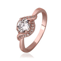 Crystal Chanel Twist Pave 18K Rose Gold Plated Ring