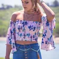 Pale Pink Floral Crop Top