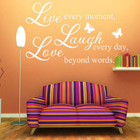 "15""x22"" (Small) - Live Love Laugh - Wall Decals Art Mural Quote Lettering Living Room Stickers"