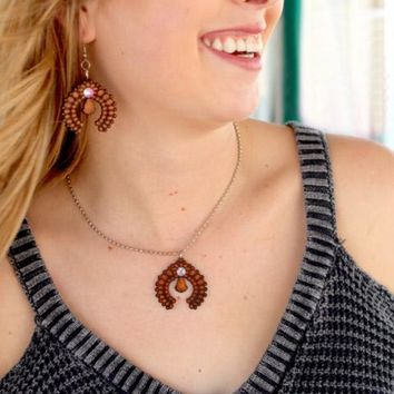 Laredo Leather Squash Blossom Necklace