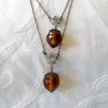 Art Deco Czech Necklace Amber Faceted Glass beads Double Strand Vintage Czech Jewelry