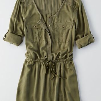 AEO Women's Military Shirt Dress (Olive)