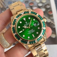 Rolex new diamond and gemstone watches fashion men and women steel band watches
