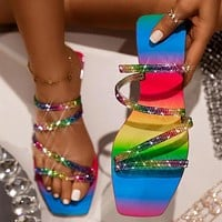 Rhinestone Rainbow Women Sandals Beautiful Female Slippers Outdoor Beach Shoes Fashion Flat Shoes