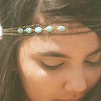 Chain Headpiece Headband Bohemian Hipster Boho Hippie Bronze Three Strand Turquoise Bridal  Jewelry Single Strand